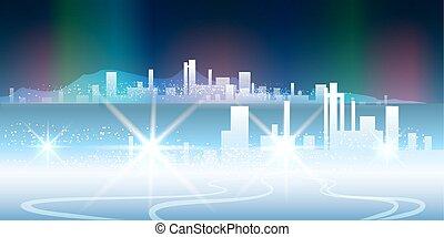 polar night city - vector illustration of night city against...