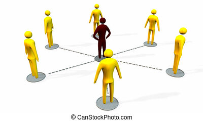 Animated business concept - Animated business teamwork and...