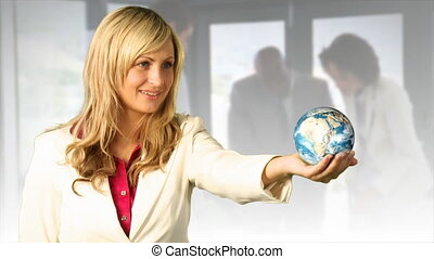 Woman Holding the Earth - Young Woman Holding a 3d roating...