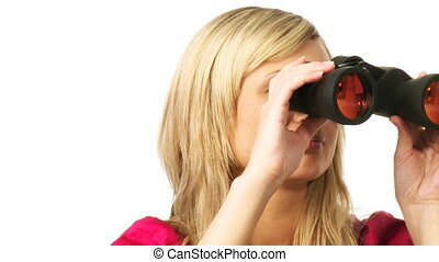 Blonde woman looking through binoculars