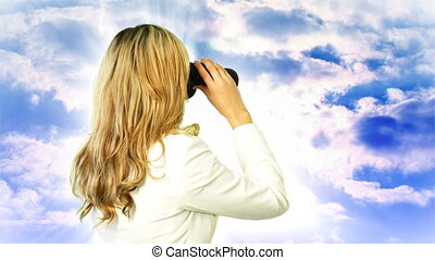 Woman looking through Binoculars - Young Business Woman...