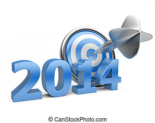 3D blue Year 2014 with a target.
