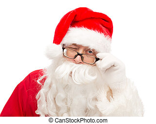 close up of santa claus winking - christmas, holidays and...