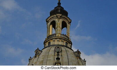Dresden church of our Lady - pan over the church of our Lady...