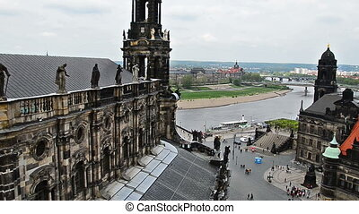 Dresden old town - View over old town of Dresden to river...