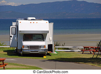 Oceanside Camping - An RV is parked alongside the Pacific...