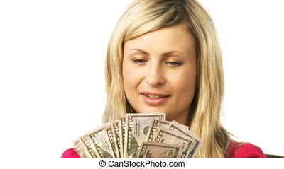 Young woman counting dollars - Young beautiful smiling woman...