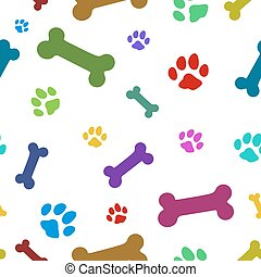 multi colored paw pattern, repeat to any large