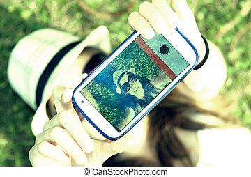 selfie - young becoming a selfie, instagram effect,...