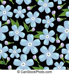 Blue forget-me-not flower seamless pattern - Vector...