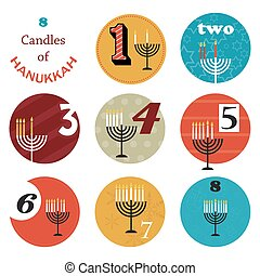 hanukkah, 8 candles for eight day holiday - hanukkah, 8...