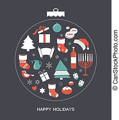merry christmas and happy hanukkah. seasonal objects - merry...