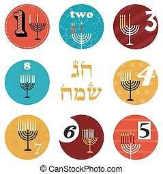 hanukkah, 8 candles for eight day holiday. happy holiday in...
