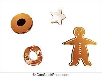 biscotti isolati su fondo bianco - biscotti misti alla...