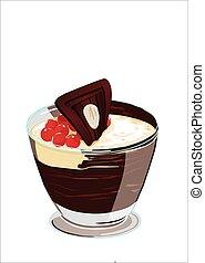 dessert al cioccolato, guarnito con - dessert alla crema in...
