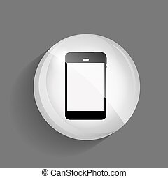Phone Glossy Icon Vector Illustration