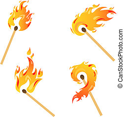 Set of flames - Set of fire flames isolated on white