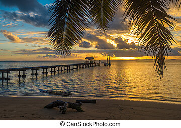 Pier on a tropical island, holiday landscape