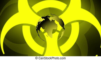 Pulsing Biohazard Symbol With Earth - Pulsing yellow...