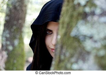 this night Ill bite - beautiful vampire woman hidden behind...