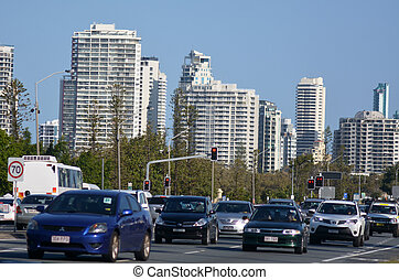 Heavy traffic in Surfers Paradise Australia - SURFERS...
