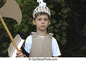 medieval knight child - photo of the boy in medieval knight...