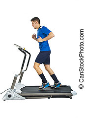 Healthy Young Caucasian Running, in Treadmill on white background