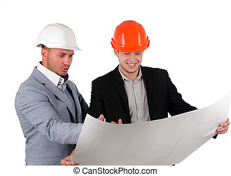 Two architects having fun discussing a plan
