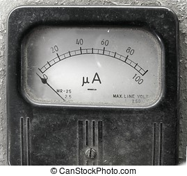 Vintage Ampere Meter - An old corroded ammeter for measuring...