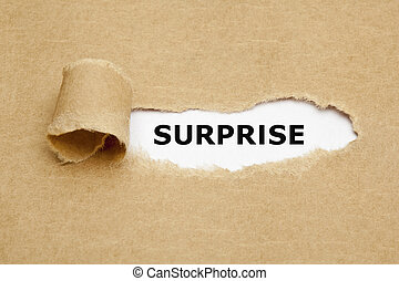 Surprise Torn Paper Concept - The word Surprise appearing...