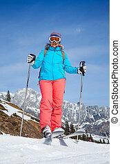 medio, viejo, mujer, en, esquí, feriado, en,...