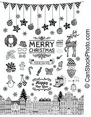 Set of Hand-drawn Outlined Christmas Doodle Icons. - Set of...