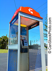 Telstra telephone booth - GOLD COAST - OCT 10 2014:Telstra...
