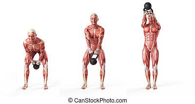 side step swing - kettlebell exercise - side step swing