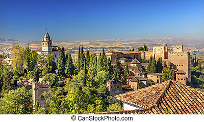 Alhambra Castle Towers Cityscape Churchs Granada Andalusia...