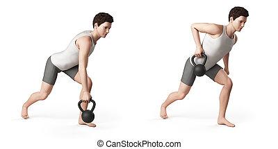 one arm row - kettlebell exercise - one arm row