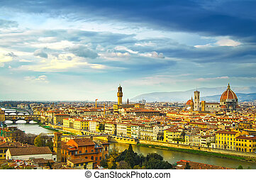 Florence sunset aerial cityscape. Panorama view from Michelangel
