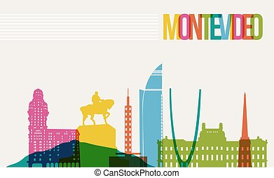 Travel Montevideo destination landmarks skyline background -...