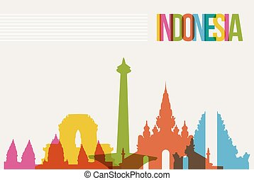 Travel Indonesia destination landmarks skyline background -...