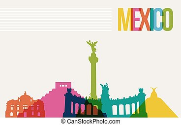 Travel Meacute;xico destination landmarks skyline background...