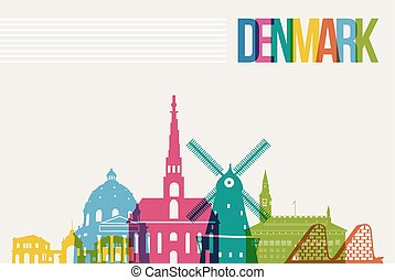 Travel Denmark destination landmarks skyline background -...