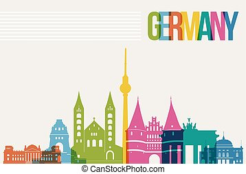 Travel Germany destination landmarks skyline background -...