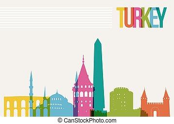 Travel Turkey destination landmarks skyline background -...
