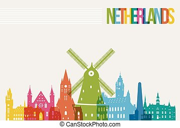 Travel Netherlands destination landmarks skyline background...