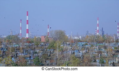 Cemetery on the background of an oil refinery - horizontal...