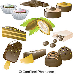 Chocolate set - 8 chocolate desserts and cocoa beans!...