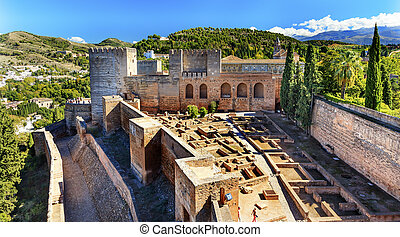 Alhambra Alcazaba Castle Towers Granada Andalusia Spain