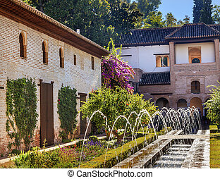 Generallife Alhambra White Palace Orange Tree Garden Granada...
