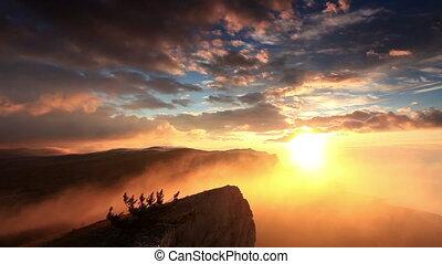 sunrise in the mountains Ai-Petri. Alupka, Crimea, Russia....