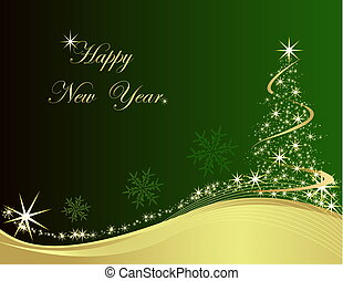 Happy New Year - Happy New Year, green and gold